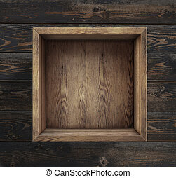 Empty wooden box on floor top view