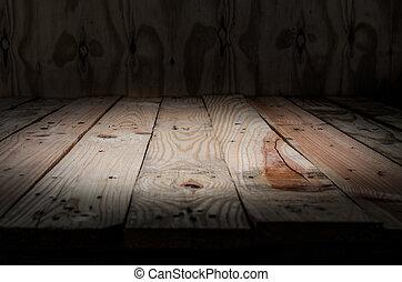 Empty wooden bridge on wall