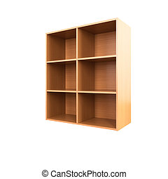Empty wooden cabinet isolated on white background