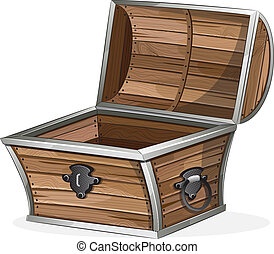 Empty wooden chest - Open wooden chest on white background