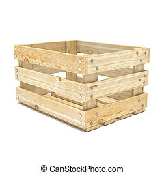 Empty wooden crate. Side view. 3D