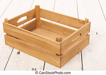 Empty wooden crate to fill
