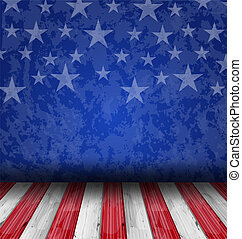 Empty wooden deck table over USA flag background -...