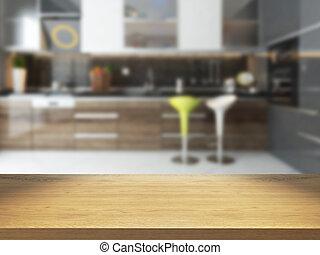 empty wooden desk with blurred kitchen background