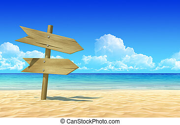 Empty wooden double signpost to place your logo, product or...