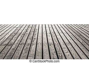 Empty wooden floor isolated on white background