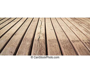 Empty wooden floor isolated on white.