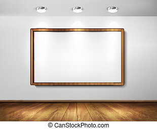 Empty wooden frame on a wall with spotlights and wooden...