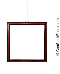 Empty wooden frame on wall
