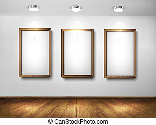 Empty wooden frames on wall with spotlights and wooden...