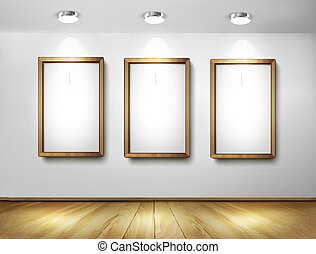 Empty wooden frames on wall with spotlights and wooden floor...