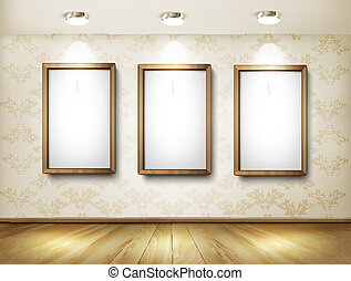 Empty wooden frames on wall with spotlights and wooden floor. Vector illustration.