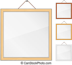 Empty wooden frames with glass