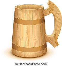 Empty wooden mug for beer. Isolated on white