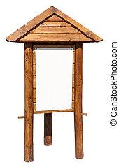 Empty wooden notice board