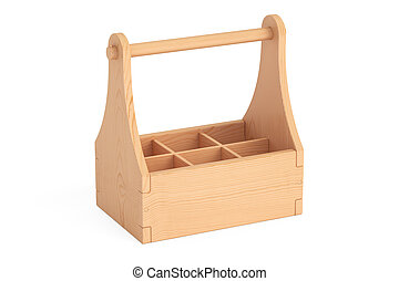empty wooden packaging, crate for bottles. 3D rendering
