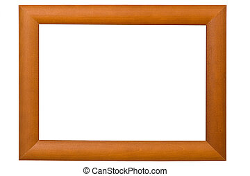 Empty wooden picture frame isolated on white background