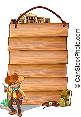 Empty wooden planks with a cowboy