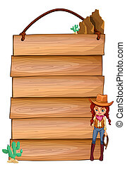 Empty wooden planks with a cowgirl