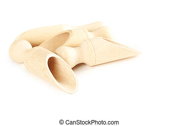 Empty wooden scoop isolated on a white
