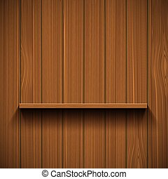Empty wooden shelf for tools. Rustic background. Stock vector il