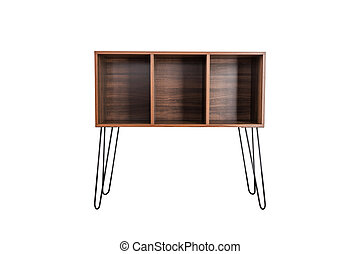 Empty wooden shelf isolated on white background.