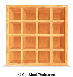 Empty Wooden Shelves Isolated on White Wall