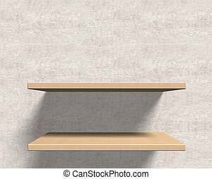 Empty wooden shelves on the wall.