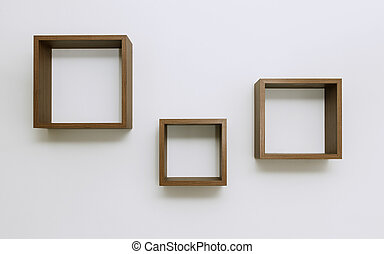 Empty Wooden shelves on white wall set of three