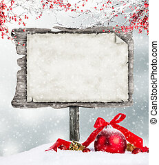 Empty wooden sign in winter mood - Empty wooden board with...