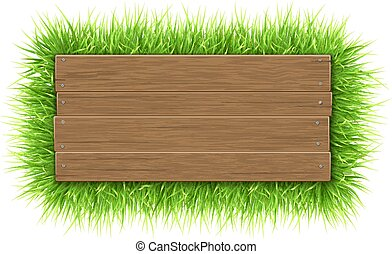 empty wooden sign with grass