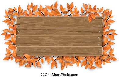empty wooden sign with red autumn tree branch