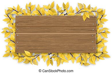empty wooden sign with yellow autumn tree branch