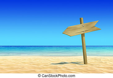 Empty wooden signpost at the beach - Empty wooden signpost...
