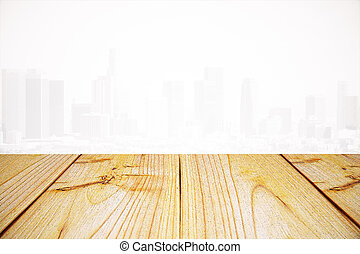 Empty wooden surface, light background