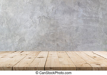 Empty wooden table and concrete wall texture and background with copy space, display montage for product.