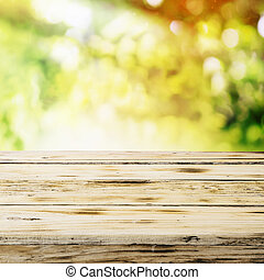 Empty wooden table in a country garden in summer