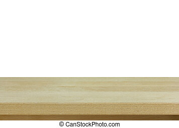 empty wooden table isolated on white