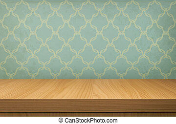 Empty wooden table over wallpaper with pattern. Ready for...