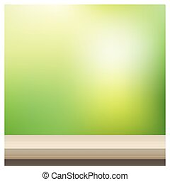 Empty wooden table top on blurred Spring garden background 2...