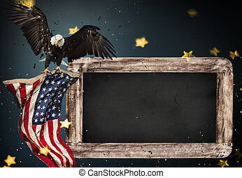 Empty wooden table with bald eagle and USA flag background....