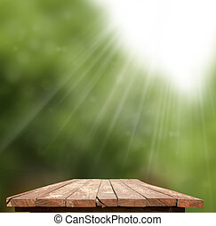 Empty wooden table with garden