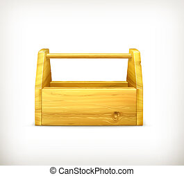 Empty wooden toolbox