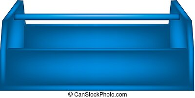 Empty wooden toolbox in blue design