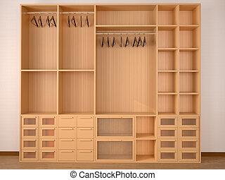 Empty Wooden Wardrobe Closet 3d Illustration