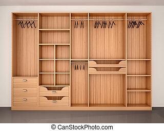 3d Illustration Clip Artby Urfingus0 35 Empty Wooden Wardrobe Closet