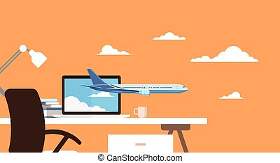 Empty Workplace Table Laptop Buy Ticket Online Application Travel Booking Air Plane Flight