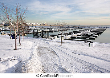 Empty Yacht Harbour on Lake Michigan in Chicago After Winter...
