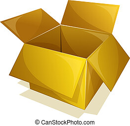 Empty yellow box - Vector illustration of empty box with...