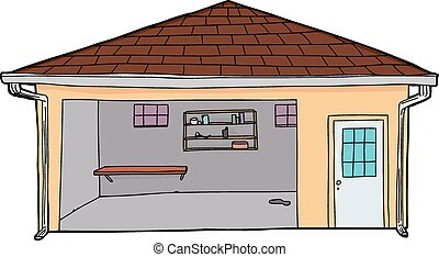 Empty Yellow Garage - Isolated yellow cartoon garage with...